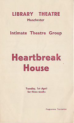 Vintage Library Theatre Programme - Initimate Theatre Group - Heartbreak House