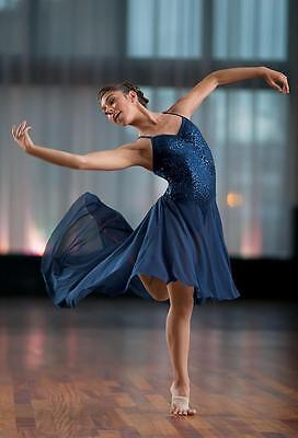 Dance Costume Medium Adult Navy Blue Sequin Dress Lyrical Solo Competition