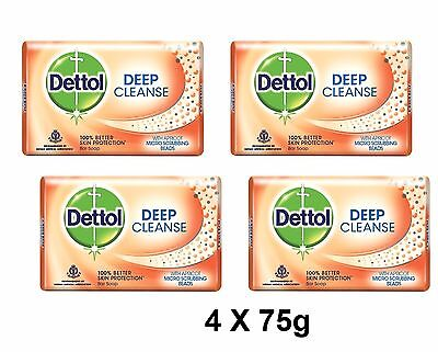 4 X 75g Dettol Soap Bar Deep Cleanse With Apricot Micro Scrubbing Beads Original