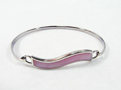 Silver bangle with a pink pearlescent wave - silver 925 - simple and elegant