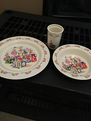 Bunnykins by Royal Doulton Melamine Plate Bowl Cup 2002