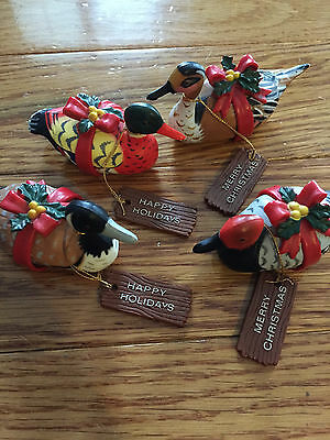 Enesco Vintage Christmas Duck Decorations 1983 Lot of 4