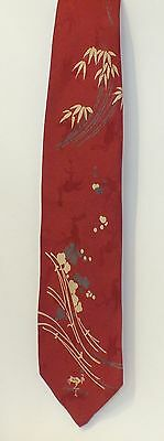 Vintage Stork Club Men's Red Silk Tie With Asian Influenced Overlay Design