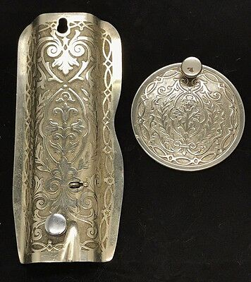 Antique Singer Red Eye Model 66 Ornate Faceplate and Rear Plate, VGC