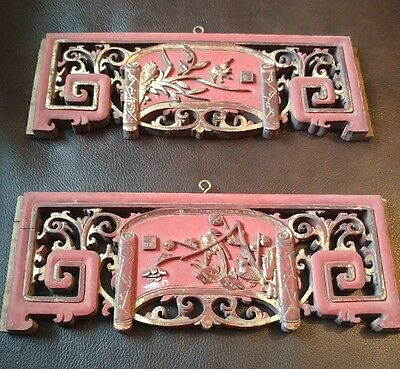 2 antique hand carved chinese wood plaques