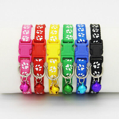 6/12 PCS Colorful Wholesale Pet Cat Collar Dog Collars With Bell Necklace Buckle