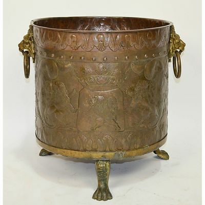 Large Antique Belgium Embossed Copper Claw Foot Lion Head Rings Fireplace Pot