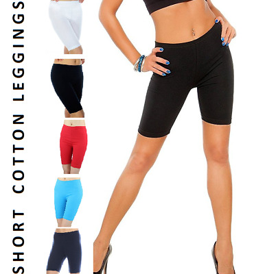 Ladies Short Leggings Cropped Cotton Yoga Active Sports Fitness Run Over-Knee *