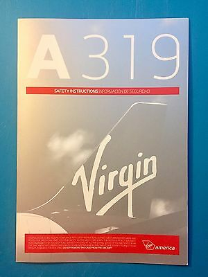 Virgin America Airlines Safety Card---Airbus 319