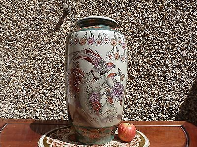 Large Japanese Satsuma Oriental Birds Scene Vase Hand Painted , Crackled Glaze