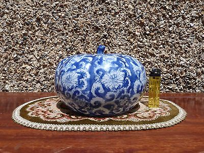 Chinese Pumpkin Shaped Ginger Jar Blue & White Lidded Pot by Canton