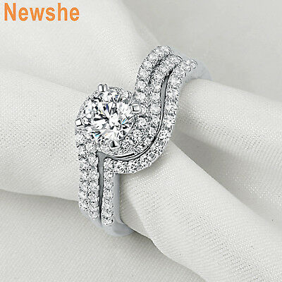 2.90 Ct White CZ Gold Plated Wedding Engagement Ring Band Set Women's Size 6-8