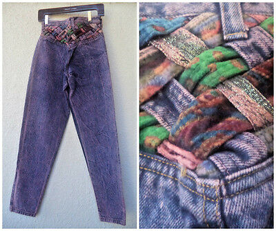 Vintage 80s Acid Wash High Waist Skinny Leg MOM JEANS Braided Detail Purple NEW