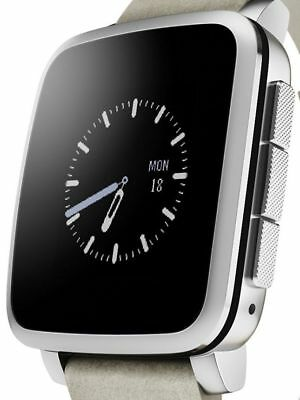 Pebble Time Steel Smart Watch for Android and IOS Silver # Good