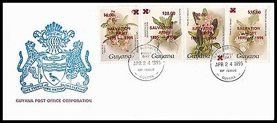 Guyana 1995 - Orchids FDC with Salvation Army overprint - RARE!!!