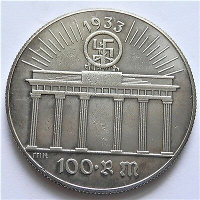 Ww2 1933 Adolf Hitler German Exonumia 100 Reichsmark Coin  Silvered