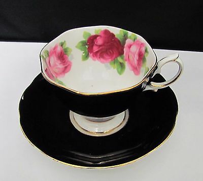 Royal Albert Wide mouth Black  Cabbage Roses Tea Cup & Saucer England