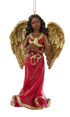 Ksa 4.75 Red & Gold Glitter African American Angel Holding Star Xmas Ornament