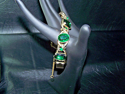 Chunky Vintage 6 Linked Emerald Chaton Bracelet With Safety Chain