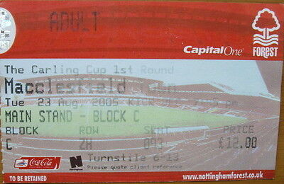 Ticket Nottingham Forest v Macclesfield Town Carling Cup 2005/06