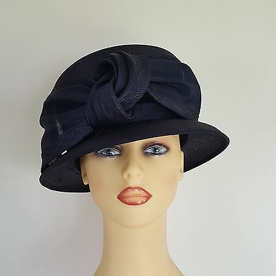 Ladies Wedding Hat Races Mother Bride Navy Chiffon Bow by Whiteley