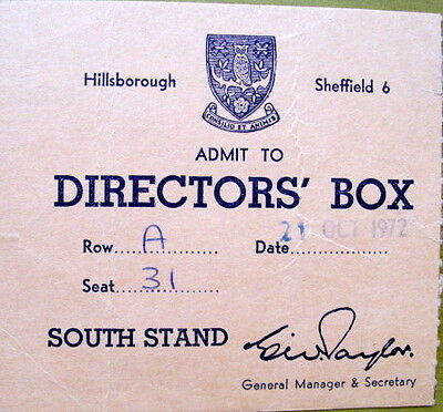 Ticket Sheffield Wednesday Res v Nottingham Forest Res  Directors Box 1972/73