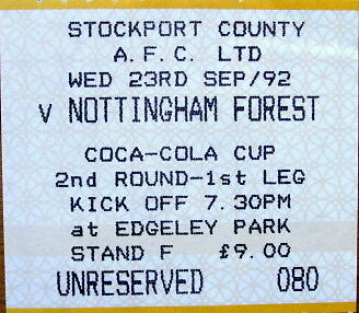 Ticket Stockport County v Nottingham Forest Coca Cola Cup 1992/93