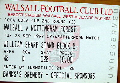 Ticket Walsall v Nottingham Forest Coca Cola Cup 1997/98