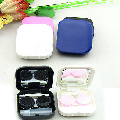 Cute Travel Holder Mini Kit Contact Lens Case Box Mirror 4 Colors