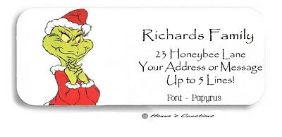 Cartoon Grinch Christmas Holiday Personalized Return Address Labels