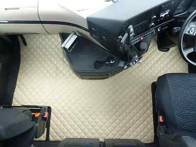 Truck Eco Leather Floor Mat Set-Beig Fit Mercedes Actros Mp4-Big-Giga Space Cab