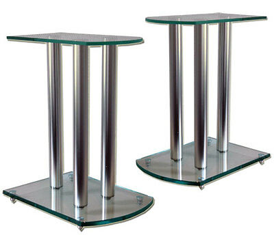 2x GLASS ALUMINIUM HOME THEATER AUDIO PA SPEAKER STANDS