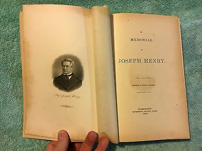 A MEMORIAL OF JOSEPH HENRY By Congress 1880 Faraday Telegraph Morse Electricity