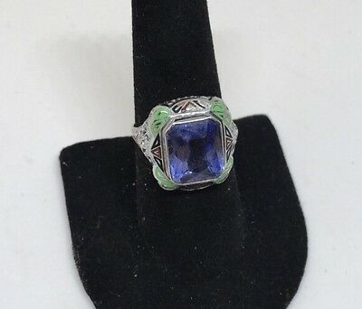 Antique Art Deco  12 Kt White Gold filigree and Enameled Amethyst Ring