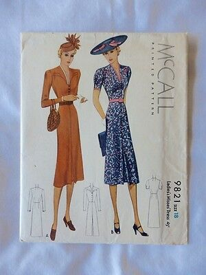 Vintage McCall 9821 - 1930s One-Piece Dress Sewing Pattern Size 18 - Rare