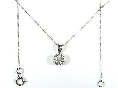 LOVELY SPARKLY 9ct WHITE GOLD GENUINE 0.15ct DIAMOND SOLITAIRE NECKLACE PENDANT