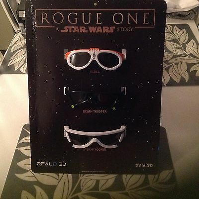 Star Wars Rogue One 3D Glasses 3 Piece set Brand new Factory sealed packaging