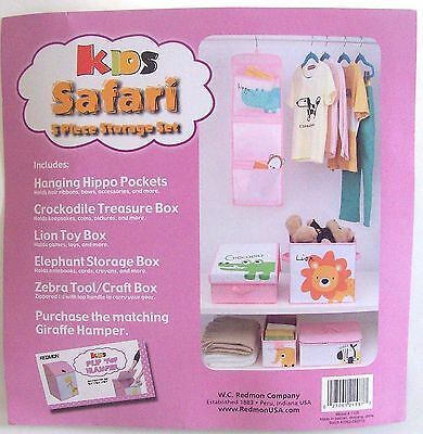 Nursery Bedroom Closet Organizer For Baby Children~Kids Safari 5 Pc Storage Set