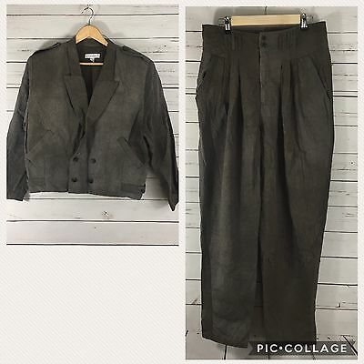 Z Cavaricci Vintage Distressed 80's Taper Leg Pants and Jacket set. Rare.