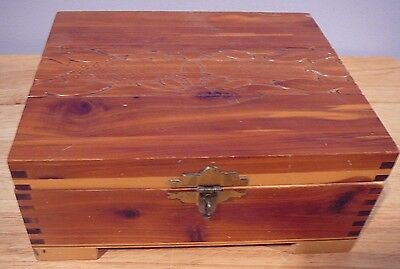Vintage Cedar Wood Jewelry Box Floral Carved Lid