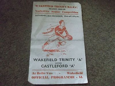 "Rare Wakefield Trinity V Castleford ""a"" Yorkshire Senior Competition 20 Dec 1958"