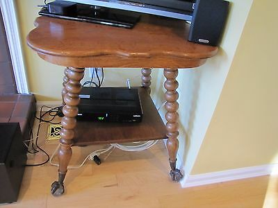 Antique Victorian Oak Brass & glass Ball Claw foot end side Parlor table