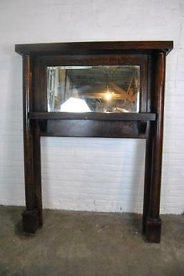 Antique Full Size Quartersawn Oak Fireplace Mantle W/ Beveled Mirror