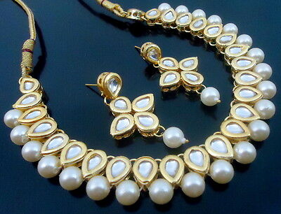 White Kundan Pearl Gold Tone Traditional Party Wear Necklace Set 3 Pcs Jewelry