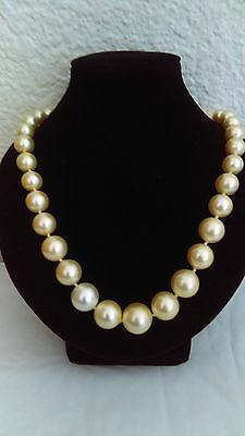 """14K Yellow Gold Filigree Clasp 8.5mm Natural Pearl Necklace-18"""" !!!"""