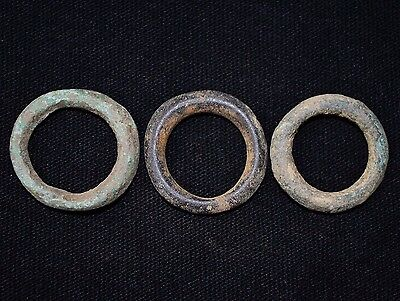 Group of 3 Ancient Viking Bronze Hair / Beard Rings, ca 950-1000 AD. Norse Beads