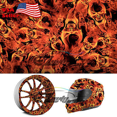 "19""x38"" Hydrographic Film Hydro Dipping Water Transfer Fire Flame Skull Evil #14"