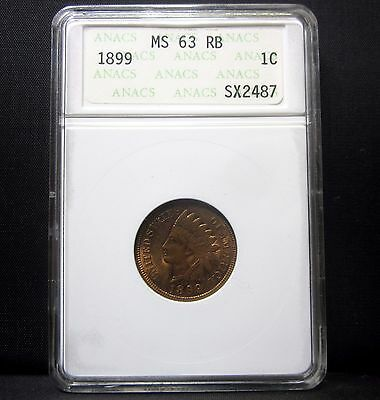 1899 Indian Head Cent ✪ Anacs Ms-63-Rb ✪ Red Brown Unc Uncirculated 1C ◢Trusted◣