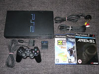 Sony Playstation 2 Ps2 Console Bundle With Controller Memory Card & 3 Games