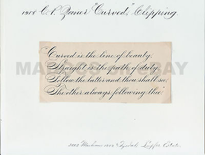 """4 CP Zaner Penmanship Print Items """"Curved,Best,Meaning,Generality"""", EA Lupfer"""